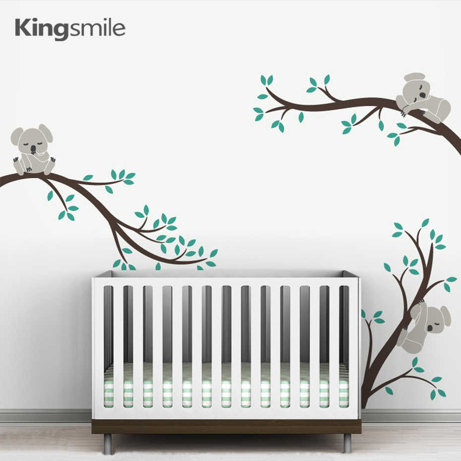 Cute 3 Koalas Tree Branches Nursery Wall Stickers Wall Art Decals Removable DIY Vinyl Poster for Baby Kids Room Home Decoration