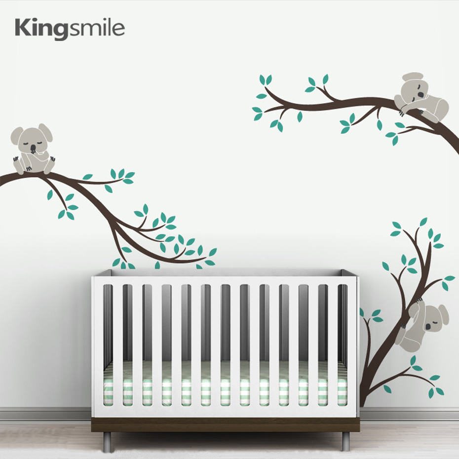 Cute 3 Koalas Tree Branches Nursery Wall Stickers Væg Art Decals Removable DIY Vinyl Plakat til Baby Børneværelse Home Decoration