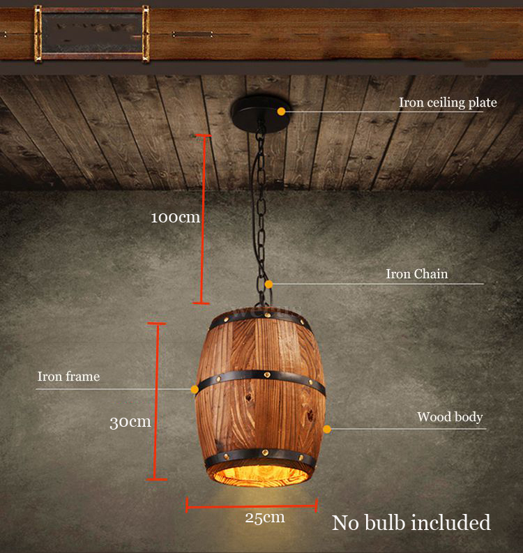 Wooden Barrel Pendant Light