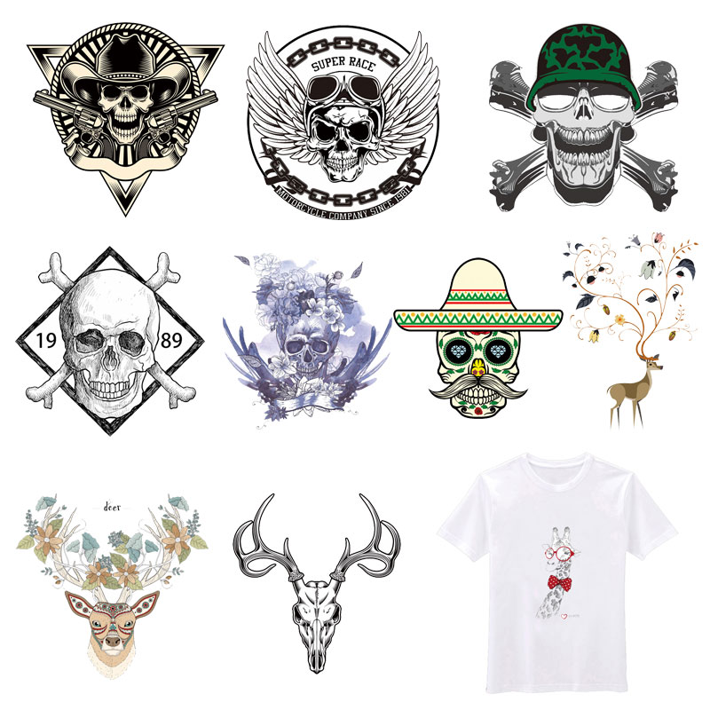 Punk Skull <font><b>Patches</b></font> Animals <font><b>Deer</b></font> <font><b>Patch</b></font> Iron Transfer for Kid Clothes DIY T-shirt Jacket Washable Stickers Applique Thermal Press image