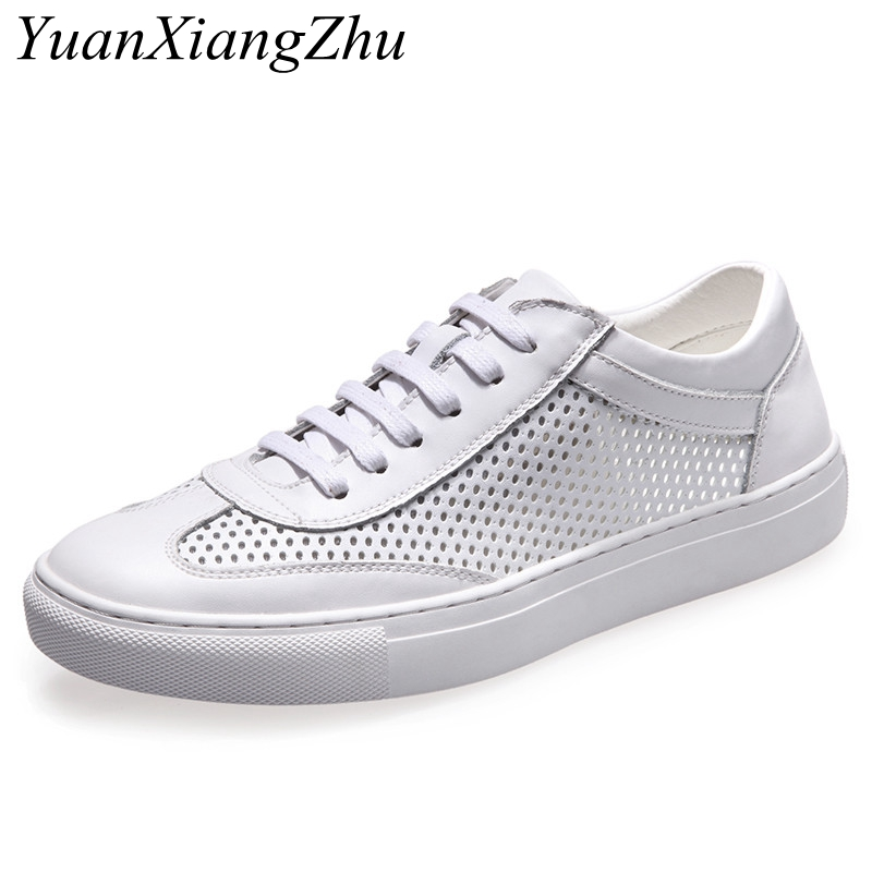 Mens leather casual shoes 2018 summer new breathable hollow leisure shoes mens brand fashion leather white  silver men shoes