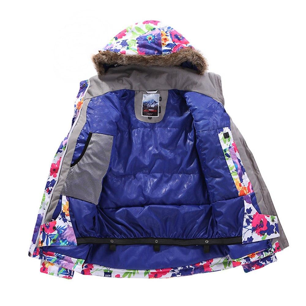 GSOU marca de nieve chaqueta de esquí traje de esquí de las mujeres impermeable Snowboard chaqueta de abrigo de invierno con capucha de piel caliente al aire libre de nieve esquí - 3