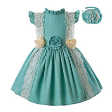 Pre-Sale Girls Mint Green Princess Dress Yellow Flower Print Dress Kids Clothes With Headwear Summer Baby Cloth G-DMGD201-C139(China)