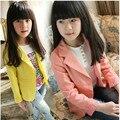 Primavera rosa das meninas Cardigan Fino Blazer casaco quente do bebê meninas rendas pequeno terno de manga longa Uma fivela casuais jaqueta roupas para 4-15Y