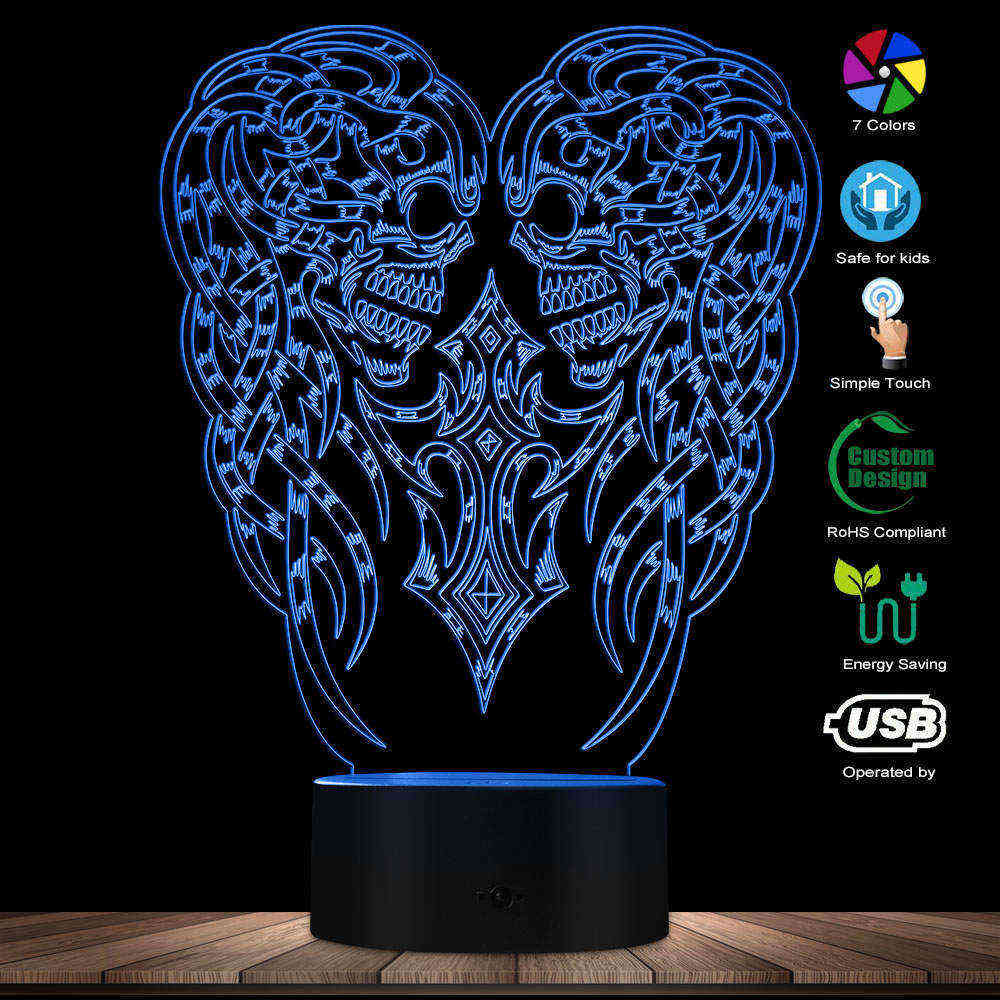 Halloween Evil Double Skull 3D Illusion Lamp Colors Changing Night Glow Light USB LED Home Decorative 3D LED Light Novelty Lamp