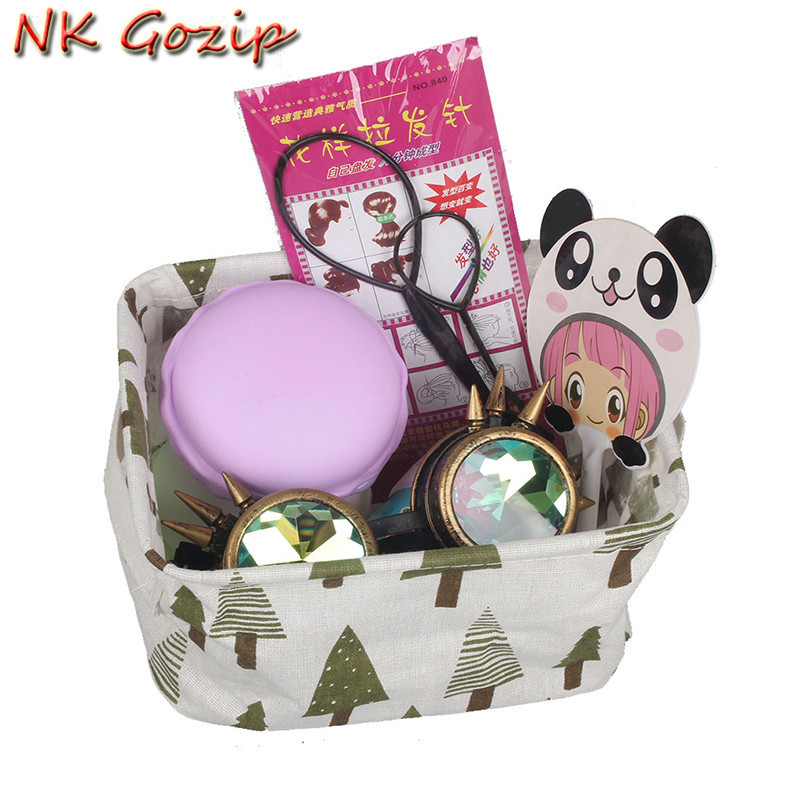 NK Gozip Cute Linen Desk Storage Box Holder Jewelry Cosmetic Stationery Kid Toys Storage bags Waterproof Storage Basket