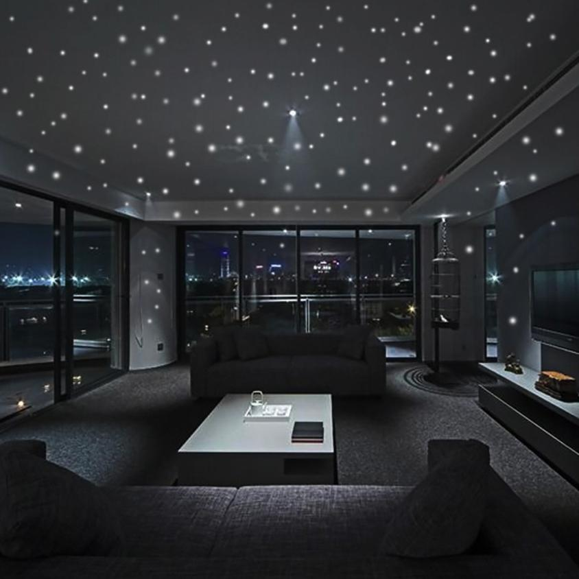Glow In The Dark Room Decor.Us 1 66 49 Off Home Decor Glow In The Dark Star Wall Stickers 407pcs Round Dot Luminous Kids Room Decor Wall Sticker Home Deco Mirror Ju23 In Wall