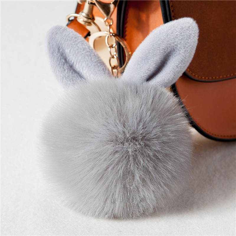 Cute Big Bunny Rabbit Ears Fur Pompom Keychain Fluffy Faux Leather Ball HandBag Pendant Artificial Pom Pom Key Chain Porte Clef