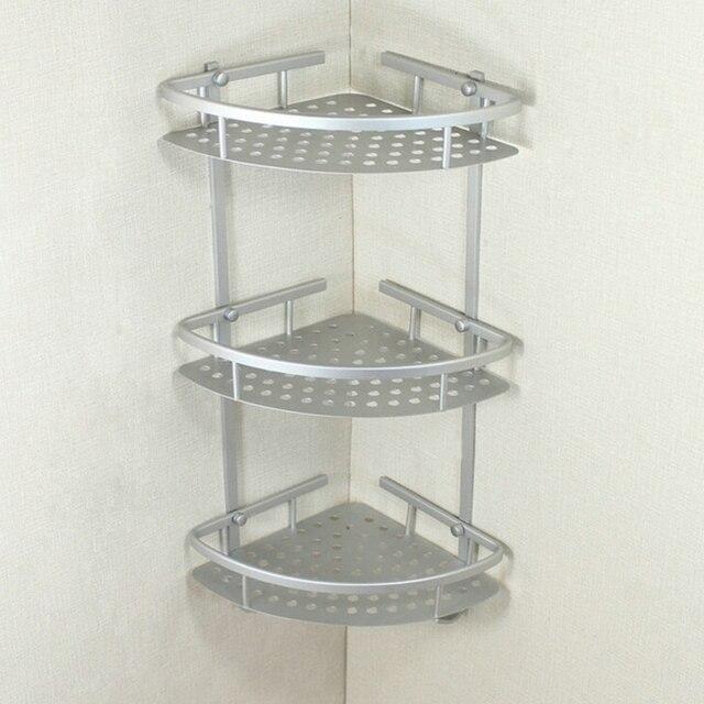 Aluminum Bathroom Shelf Three Layer Wall Mounted Shower Shampoo Soap Cosmetic Shelves Accessories