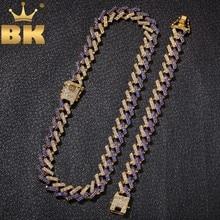 THE BLING KING NE + BA moda naszyjniki biżuteria i bransoletki 15mm moda Iced Out 2 wiersz Prong kubański Link łańcuchy dla mężcz...