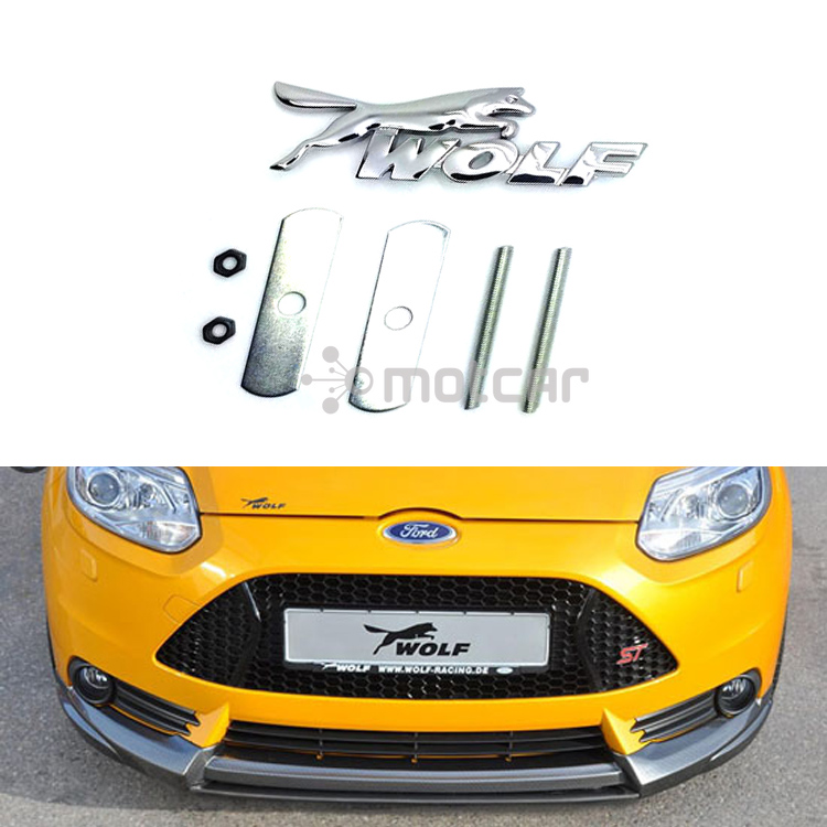 universal fit car styling wolf metal racing logo front hood grille badge grille emblem auto. Black Bedroom Furniture Sets. Home Design Ideas