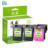 3Pcs Refilled 301XL Cartridges 301 xl Ink Cartridge Compatible for HP Deskjet 1000 2000 2510 3050 Envy 4500 5530 4630 Printers