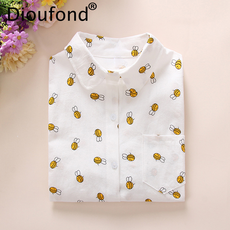Dioufond 2019 Formal Shirts Women Cotton Blusas Mujer Ladies Tops Blouses Femininas Female Office Shirt Long Sleeve