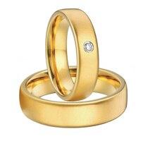 Пользовательские Свадебная пара золотой цвет альянсов Анель мужские и женские titanium стали обручальное кольца наборы для пары