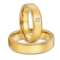 Custom Bridal Pair gold colour alliances anel mens and womens titanium steel wedding band rings sets for couples