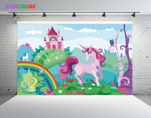 SHENGYONGBAO Art Cloth Digital Printed Backdrops for Photography Happy birthday theme Unicorn Photo Studio Background 10988