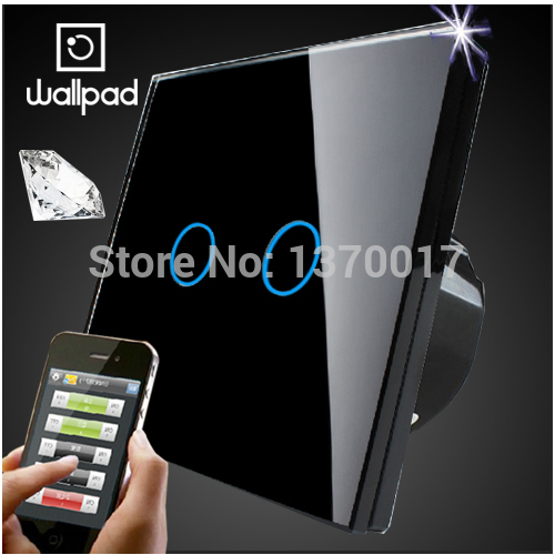 Wallpad EU 2 Gang Crystal Glass Black Touch Wifi Light Switch,LED Wireless Remote control wall touch light switch,Free Shipping 2017 free shipping smart wall switch crystal glass panel switch us 2 gang remote control touch switch wall light switch for led