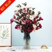 3 Heads Artificial Rose Flower Silk Fake Flower Wedding Party Bouquet Home Room Decor
