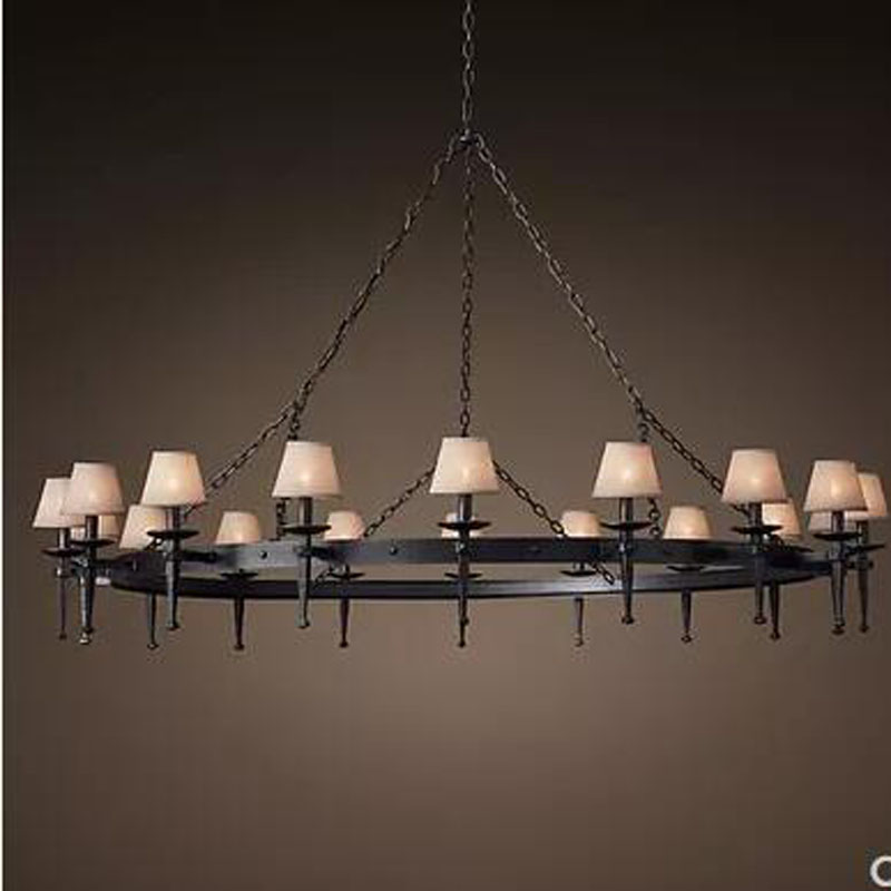 Us 627 5 50 Off L American Retro Wrought Iron Candle Chandelier Country European Engineering Light Church Living Room Lamp In Pendant
