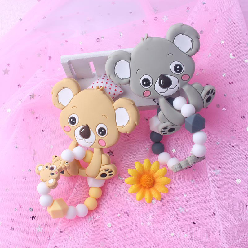 Food Grade Silicone Teethers Infant Baby Silicone Chew Charms Kids Teething Gifts Toddler Toy DIY Animal Koala Baby Ring Teether (8)