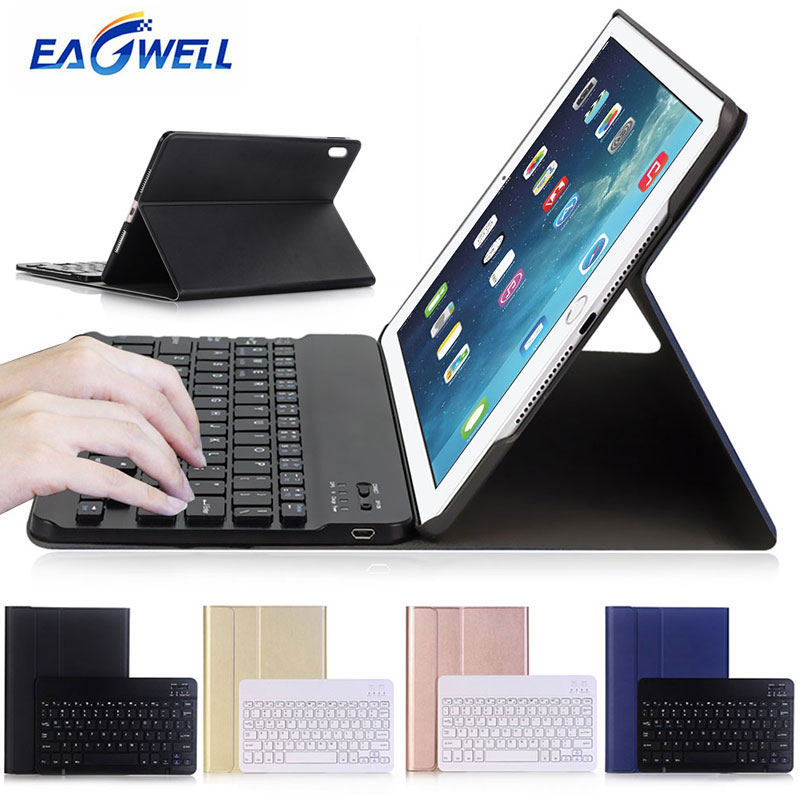 Eagwell Bluetooth Wireless Keyboard Leather Case For Apple iPad Pro 10.5 inch 2017 Removable Keyboard Case Tablet Stand Cover