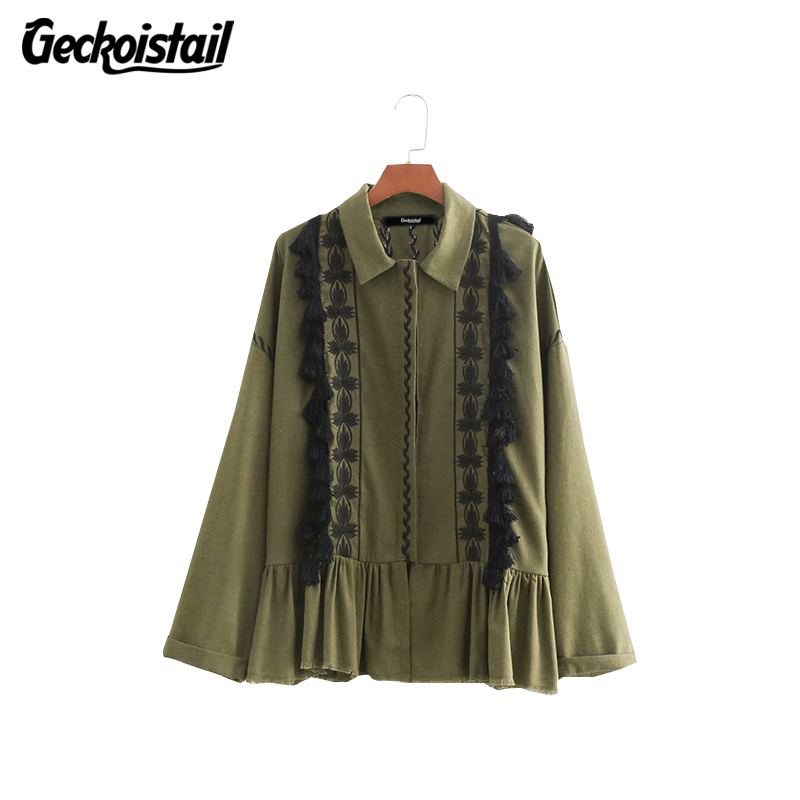 Geckoistail Women Casual Autumn 2018   Basic     Jackets   Coat 2018 Army Green Long Sleeve Embroidery Tassel Female Slim Outerwear