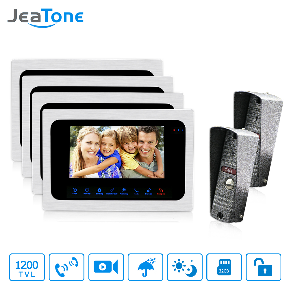 JeaTone Video Doorbell 7 Inch Monitor Intercom System Night Vision Home Security System 2 Camera 4 monitor Video Doorbell Kit jeatone 7 lcd monitor wired video intercom doorbell 1 camera 2 monitors video door phone bell kit for home security system
