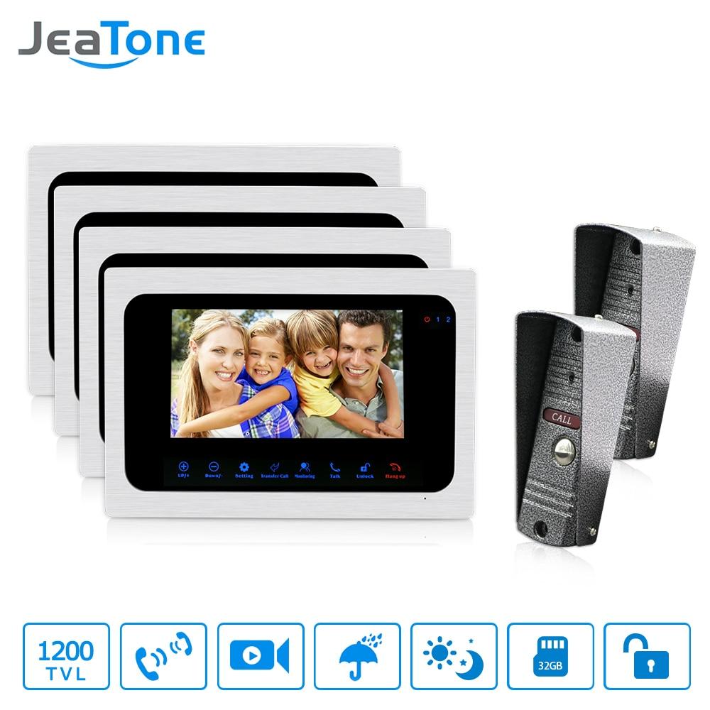 JeaTone Video Doorbell 7 Inch Monitor Intercom System Night Vision Home Security System 2 Camera 4 Monitor Video Doorbell Kit