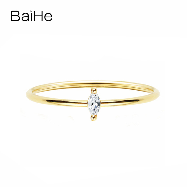 BAIHE Solid 14K Yellow Gold 0.05CT Certified H/SI Round Cut 100% Genuine Natural Diamonds Wedding Women Trendy Fine Jewelry Ring