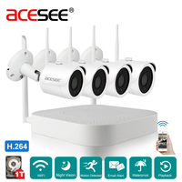 ACESEE 4CH 720P Security IP Camera Easy Installation Plug Play Outdoor IR Night Vision Home WIFI