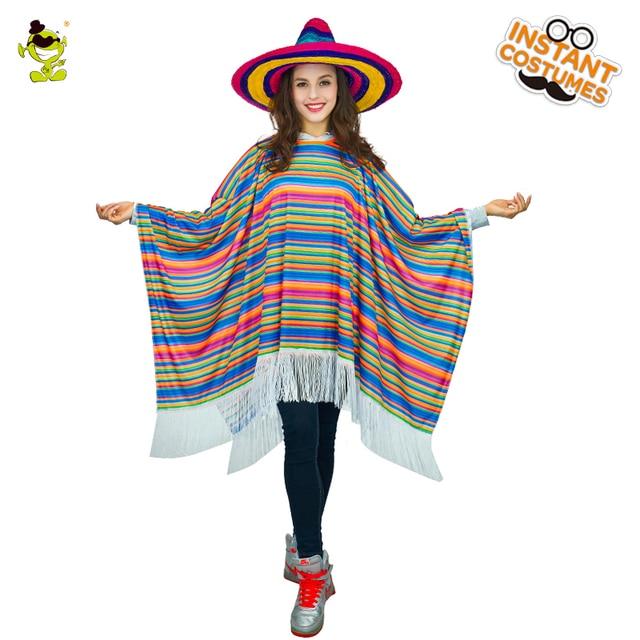 43669d186d8b Для женщин Радуга мексиканской плащ костюмы взрослые карнавальные вечеринки  бахромой мексиканской большой мыс женские модные фантазии