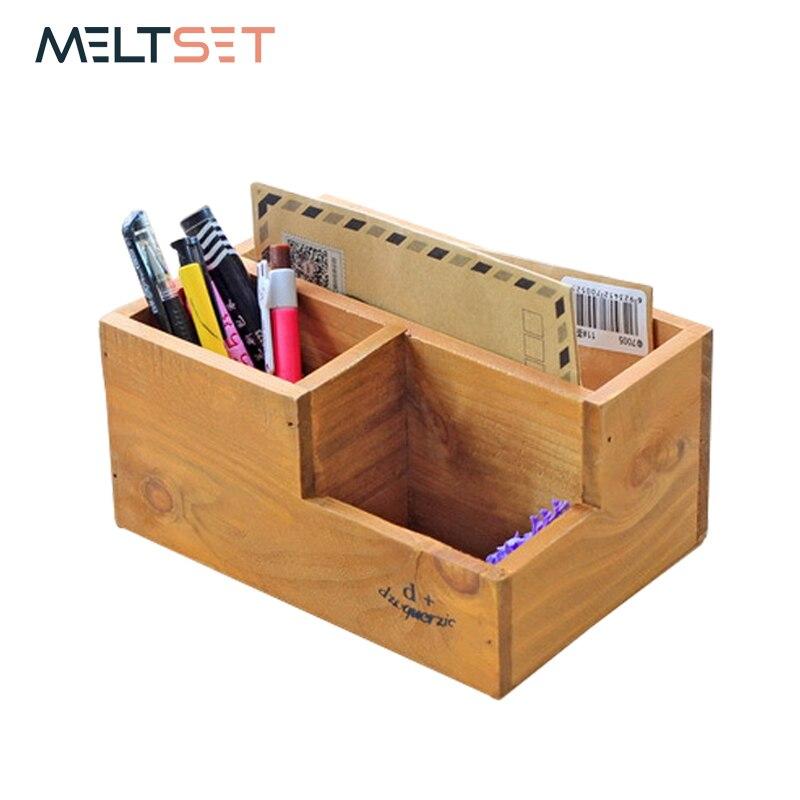 Wooden Desktop Organzier Storage Box Pen Pencil Holder Wood Makeup Organizer Cosmetic Brush Lipstick Holder Case Jewelry Box makeup organizer box