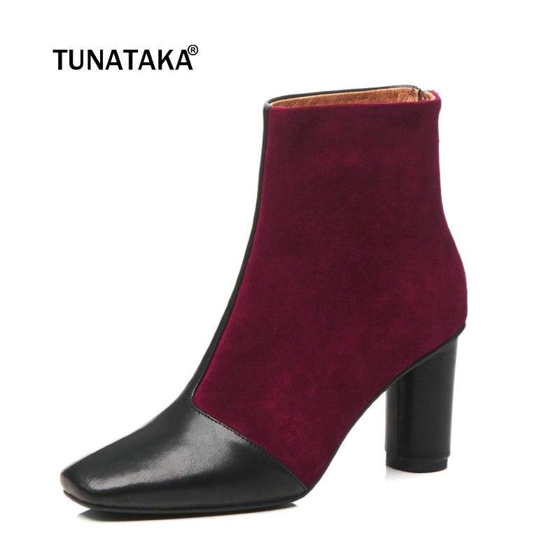 купить Women Genuine Leather High Heel Ankle Boots Fashion Zipper Boots Ladies Mixed Colors Square Toe Fall Winter Shoes Apricot по цене 4392.64 рублей