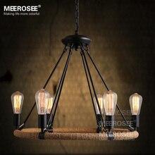 Винтаж подвесной светильник Американский стиль Веревку падение лампа блеск Античная Edision лампы подвеска свет для гостиной кулон