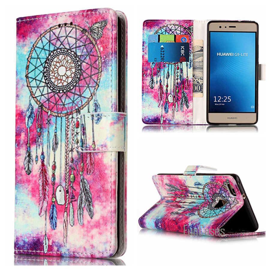 Huawei社p9 liteケース高級フリップレザーケースhuawei社p9 lite P9Lite電話ケースfundaカバー5.2インチでカードホルダー