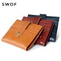 SWDF hombres casuales porte carta de crédito tarjeta de titular de la tarjeta monedero cartera de tarjeta de cuero genuino de la mujer moda vintage simple Sostenedores de la IDENTIFICACIÓN