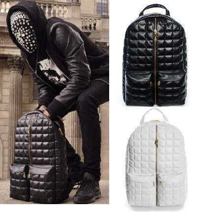 Quilted Leather Backpack Hip Hop Unique Cool Designer