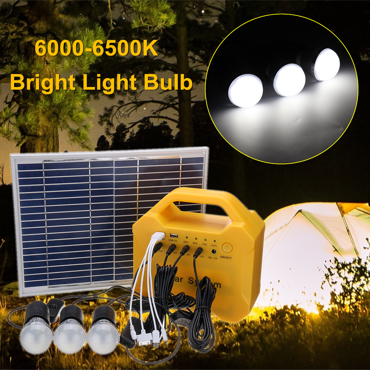 Solar Panel Power Storage Generator LED Light 18V USB Charge System Home Outdoor Large Capacity Battery Energy Saving Camping