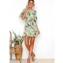 276b4f97139 Flower Print Flare Sleeve Dress Women Robe Sexy Sash Tie Bow Boho Beach Short  Mini Dresses