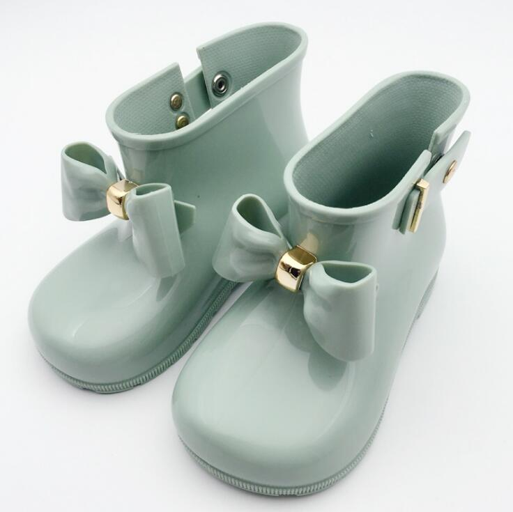 Baby Girls Rain Boots Non-slip Waterproof Warm Beauty Bow Rainboots Rubber  Princess Shoes Toddler Kids Jelly Shoes