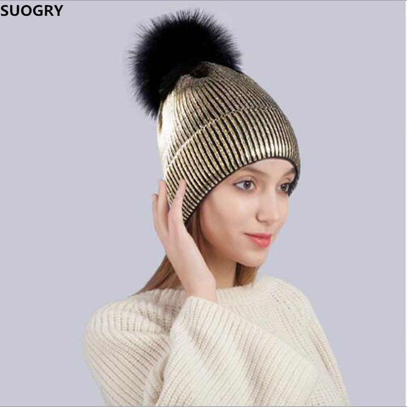 Fashion Bronzing Gold Silver Caps Faux Fur Pompon Ski Hat for Women Winter Knitting Warm Hats Female   Skullies     Beanies   Bones