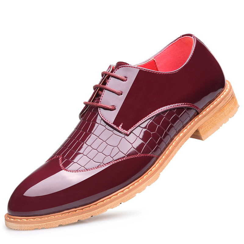 ФОТО The new men's business casual shoes leather England Four Seasons wear breathable lace Collectibles crocodile shoes