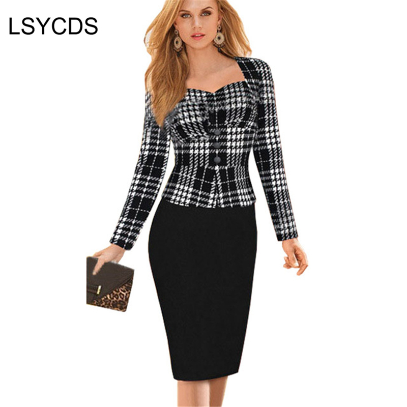2018 New Women Spring Autumn Wear Faux Two Piece Dress Lady Elegant Solid Long Sleeve Bandage Slip Sheath Work Office Dresses