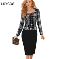 2018 Yeni Kadın Bahar Sonbahar Giyim Sahte Iki Parça Elbise Lady Zarif Katı Uzun Kollu Bandaj Kayma Kılıf Çalışma Ofisi elbiseler