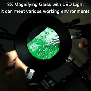Image 5 - NEWACALOX USB LED 3X Glasses Magnifier Lamp DIY Soldering Third Hand 4pc Flexible Arms Welding Helping Stand Repair Holder Tool
