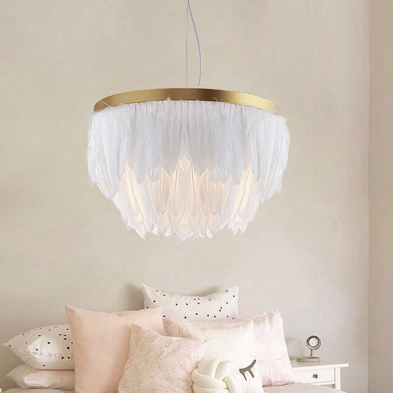 LukLoy Nordic Feather Pendant Lamp Light Romantic Fabric Chandelier INS Fairy Feather Ceiling Hanging Lighting Suspension