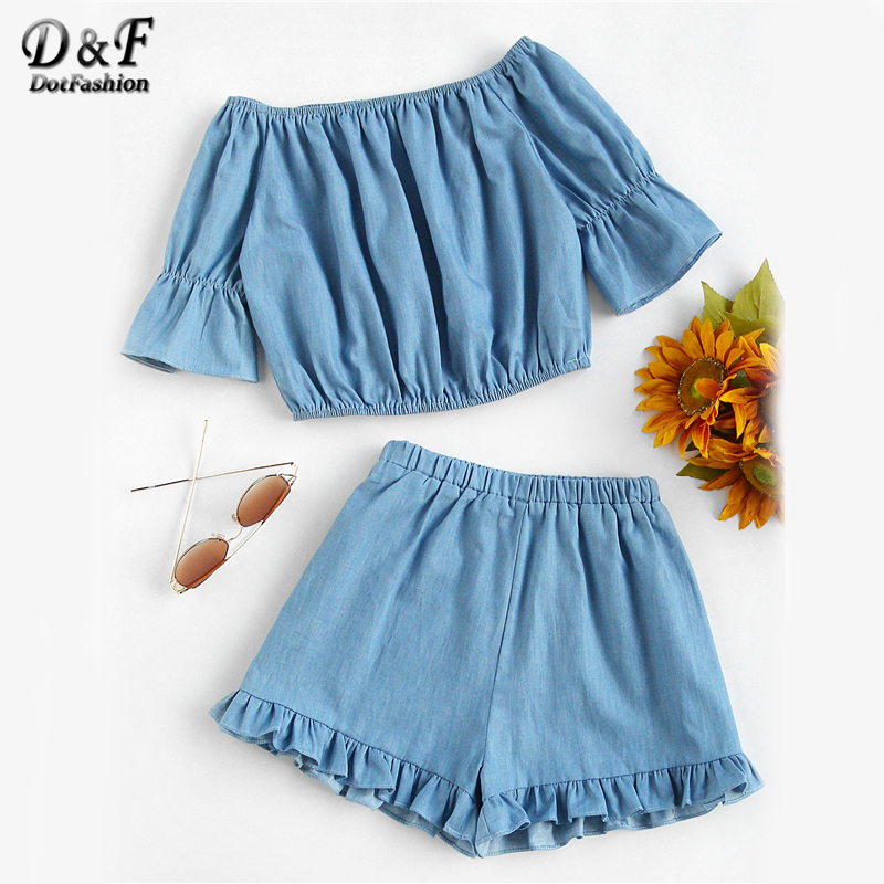 Dotfashion Bardot Crop Top With Frill Hem Shorts Summer Off the Shoulder Half Sleeve Two Piece Women Blue Ruffle Pleated 2 Piece смешнятина дневник неудержимого творчества издательство аст