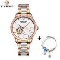 STARKING-reloj mecánico de lujo para mujer, automático, con esqueleto, de oro rosa, conjunto de pulsera, femenino