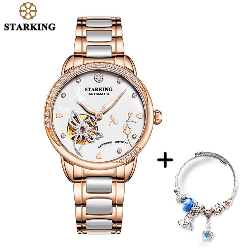 STARKING montre de luxe mécanique femmes squelette automatique montre or Rose dames montre-Bracelet ensemble Relogio Feminino
