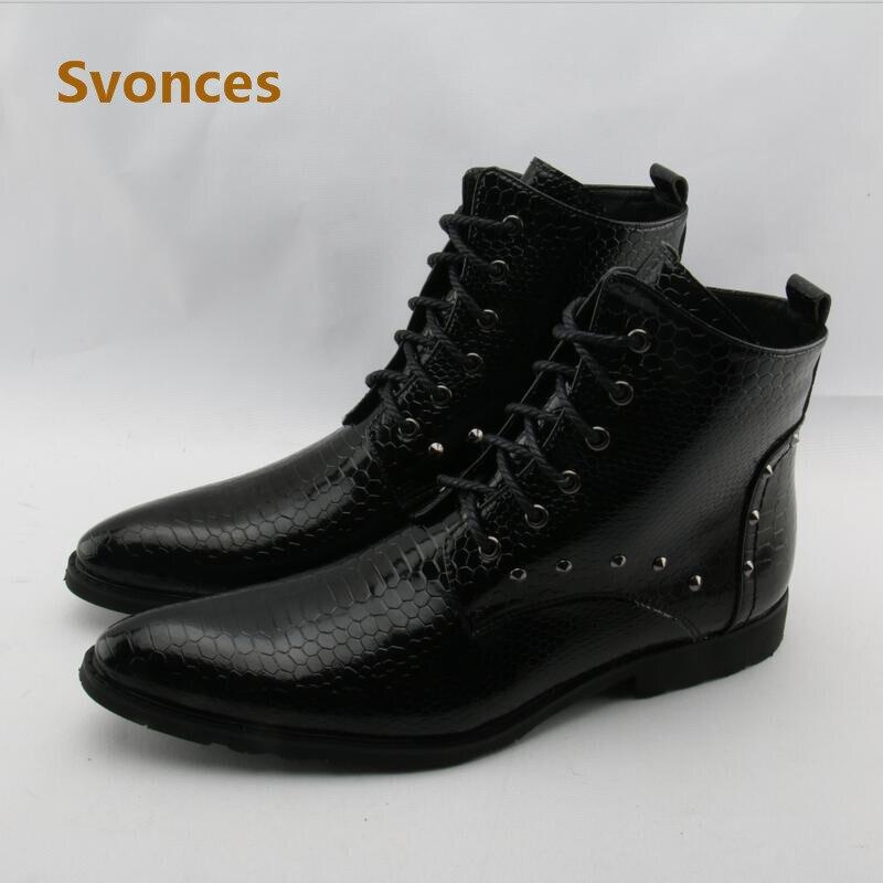 2019 Mode Echtes Leder Fashion Männer Stiefel Luxus Serpentine Designer Atmungs Neue Herren Schuhe Marke Gentleman Lace-up Zapatillas Hombre Stabile Konstruktion